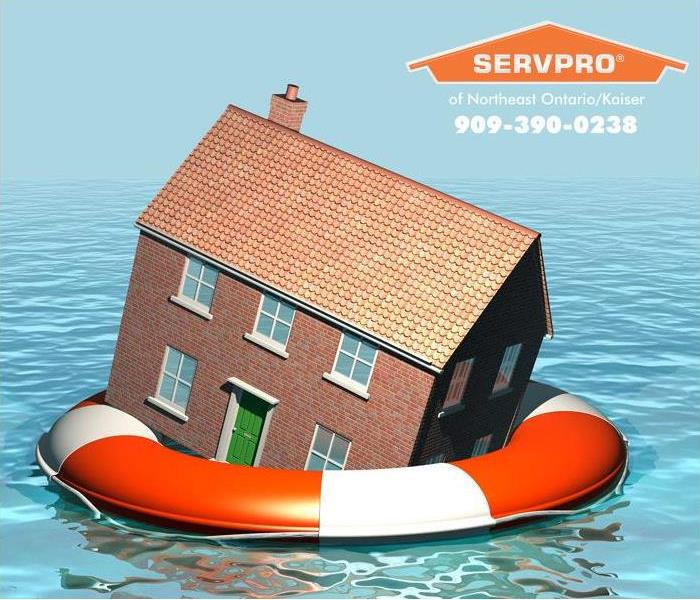 Cartoon house in a life preserver